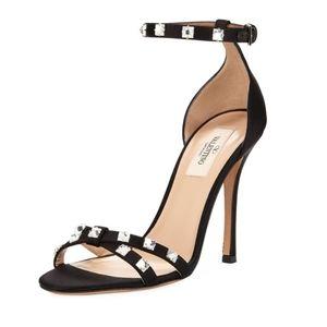 Rockstud Glam Crystal Satin City Sandals 40